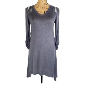 Questions Shoulder Studded Tunic Dress